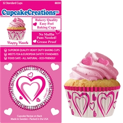 Bakery Quality Cupcake Baking Cups - Happy Hearts (32 pieces)