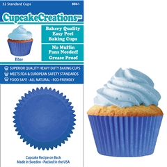 Bakery Quality Cupcake Baking Cups - Blue (32 pieces)