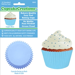 Bakery Quality Cupcake Baking Cups - Light Blue (32 pieces)