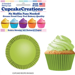 Bakery Quality Cupcake Baking Cups - Lime Green (32 pieces)