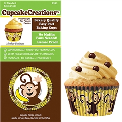 Bakery Quality Cupcake Baking Cups - Monkey Business (32 pieces)