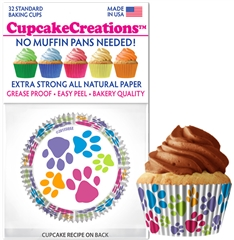 Bakery Quality Cupcake Baking Cups - Paw Prints (32 pieces)
