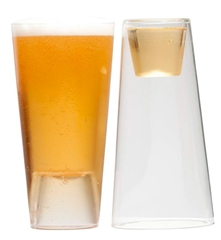 One side holds 16 oz. / 1 pint and the other side holds a 2 oz. shot or votive candle. Made of mouth blown laboratory grade borosilicate glass. Box includes two stacking beer/shot light glasses. Dishwasher safe.
