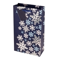 2-Bottle Blue Snowflake Gift Bag