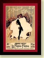 """Le Frou-Frou"" by L.H.Weiluc (1900) 29"" x 37"" Framed with Craftman ""California Mission"" Espresso Color Solid Wood Frame"