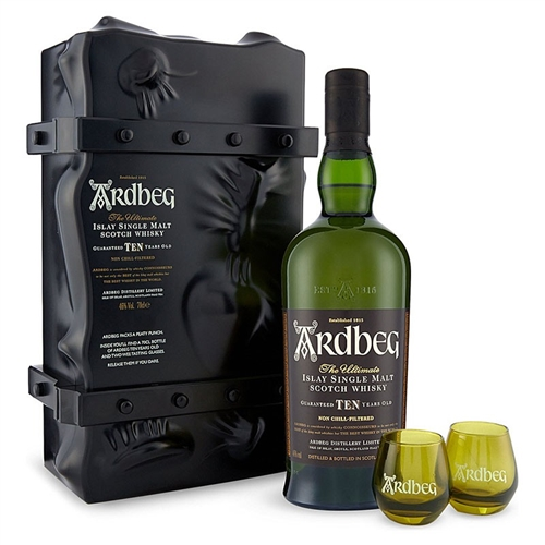 """Ardbeg """"Escape Pack"""" 10 Year Old Islay Single Malt Scotch Whisky GIft Set with 2 Shortie ..."""