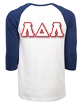 <b>3/4 Sleeve Baseball Shirt</b> with <b>4.5-Inch</b> Greek Letters