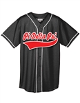 <b>Micro Mesh Baseball Jersey w/ Piping</b> and <b>Split Front Baseball Script</b>