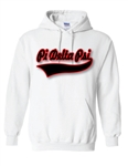 Pullover Hooded Sweatshirt with Baseball Tail Script
