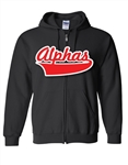 <b>Zip-Up Hooded Sweatshirt</b> with <b>Split Front Baseball Script</b>