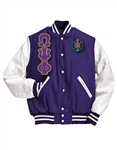 <b>Varsity Jacket</b> with <b>4.5 Inch</b> Greek Letters and <b>Crest</b>