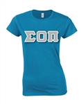Sorority Crew Neck T-Shirt with 4-Inch Greek Letters