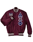 PREMIUM Satin Baseball Jacket</b> with Double Layer <b>4.5-Inch Greek Letters