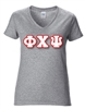 <b>Sorority V-Neck T-Shirt</b> with <b>4-Inch</b> Greek Letters