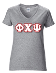Sorority V-Neck T-Shirt with 4-Inch Greek Letters