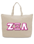 Large Zippered Tote with 4.5-Inch Greek Letters