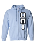 Zip-Up Hooded Sweatshirt with 4.5-Inch Greek Letters