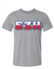 <b>Crew Neck T-Shirt</b> with <b>Triple Color</b> 4.5-Inch Greek Letters