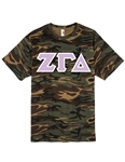 <b>Unisex Camouflage T-Shirt</b> with <b>4.5-Inch</b> Greek Letters
