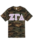 <b>Unisex Camouflage T-Shirt</b> with <b>6-Inch</b> Greek Letters