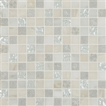 "Cordoba White Deco Mosaic Mix 1"" x 1"" (12"" X 12"" Sheet)Suwanee, Atlanta, Johns Creek, Buford, Duluth, Gwinnett, Alpharetta, Lilburn, Roswell,Flooring, Tile, Wood, Porcelain Tile, Ceramic Tile, Mosaic Tile, Mosaic, installation product sale, happy floors,"