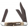 "CASE STOCKMAN 3.875"" WITH VINTAGE BONE HANDLES AND PVD COATED TRU SHARP SURGICAL STEEL PLAIN EDGE BLADES"