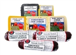 Great Gift or Party Pack! 3-12oz. Naturally Smoked Sausage, 3-7.75 oz Cheese Blocks,