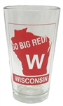 Go Big Red! Wisconsin Clear Pint Glass 16oz  ​(set of 6)