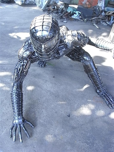 spiderman sculpture hand made from recycled scrap metal