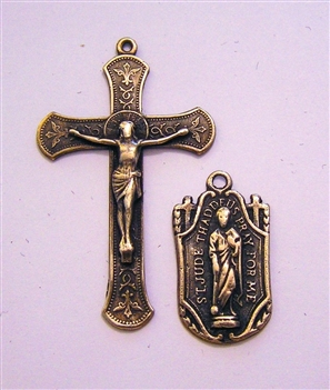 Rosary Parts Set Immaculate Conception Crucifix St Jude Medal - Sterling Silver or Bronze Antique or Vintage Replicas