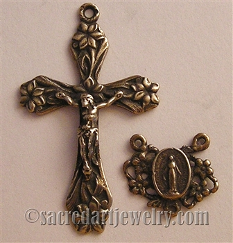 Garden Lilies Crucifix, Miraculous Mary Center Rosary Parts Set, Sterling Silver .925 or Bronze Religious Replica Catholic Pendant 1162-1198