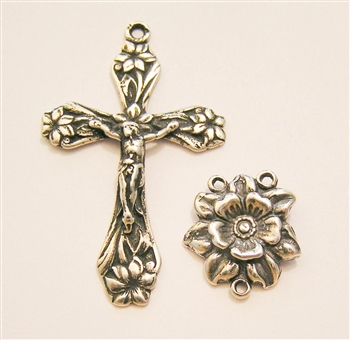 Rosary Parts Set Floral Crucifix and Center - Sterling Silver or Bronze Antique or Vintage Replicas