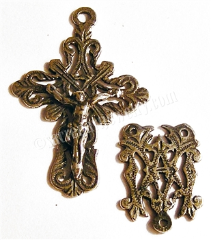 Small Elegant Mexican Crucifix and Center Rosary Parts Set Sterling Silver .925 or Bronze