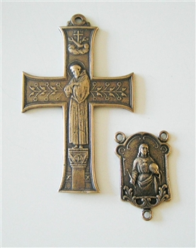 Rosary Parts Set Franciscan Cross Our Lady of Lourdes Center - Sterling Silver or Bronze Antique or Vintage Replicas