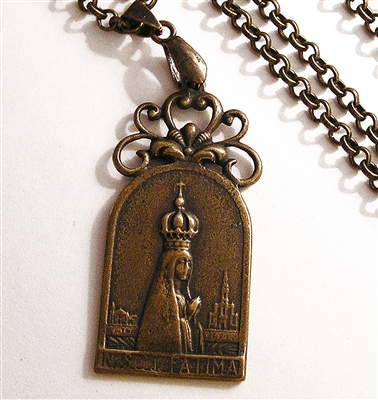 Our Lady Fatima Cross Chain Necklace