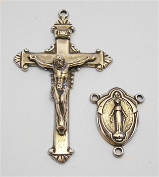 Rosary Parts Set Classic Crucifix Madonna Center - Sterling Silver .925 or Bronze Antique or Vintage Replicas