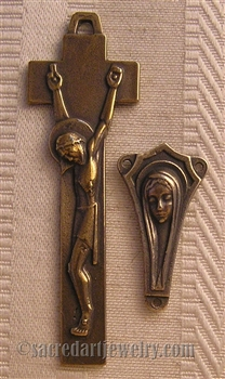 Penal Crucifix & Madonna Center Rosary Parts Set - Sterling Silver .925 or Bronze Religious Replica Catholic Pendant #307-347