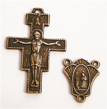 311-691 San Damiano St Francis Prayer Crucifix & Center Rosary Parts Set - Sterling Silver or Bronze