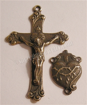 Precious Blood Crucifix & Center Rosary Parts Set - Sterling Silver or Bronze Religious Replica - Catholic Pendant #316-613