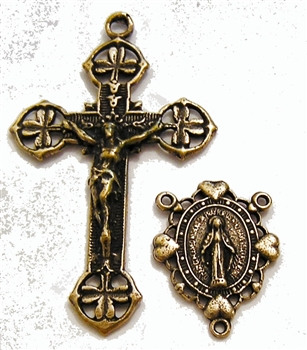 Shamrocks and Hearts Rosary Parts Set - Sterling Silver or Bronze Religious Replica 386-331