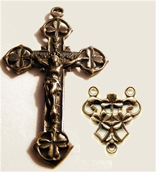 Irish Shamrock Crucifix & Rosary Center - Double Sided Openwork Rosary Set - Sterling Silver or Bronze