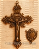 Baroque Crucifix & Edwardian Center Rosary Parts Set - Sterling Silver or Bronze Religious Replica Catholic #405-584