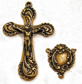 Edwardian Heart Rosary Parts Set - Sterling Silver or Bronze Religious Replica  406-405