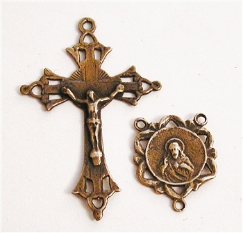 Victorian Scapular Mary & Jesus Crucifix & Center Rosary Parts Set