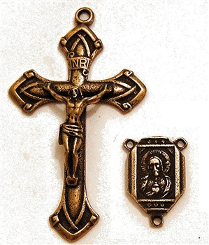 Elegant Art Deco Jesus & Mary Rosary Parts Set - Sterling Silver or Bronze Religious Replica 448-453