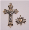 Rosary Parts Set Elegant Vines Crucifix 7 Sorrows Center Antique or Vintage Replicas - Sterling Silver .925 or Bronze