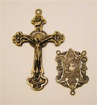 Rosary Parts Set Halo Crucifix Eucharist Lace Center - Sterling Silver or Bronze Antique or Vintage Replicas