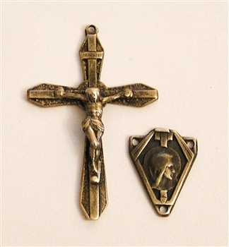 Rosary Parts Set Roma Art Deco Crucifix Center - Sterling Silver or Bronze Antique or Vintage Replicas