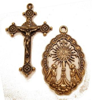 Monstrance with Angels Rosary Parts Set - Sterling Silver or Bronze Religious Replica 657-718