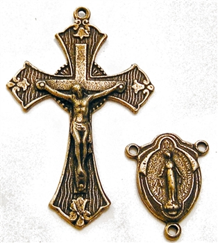 Etched Tulips & Drapes Rosary Parts Set - Sterling Silver or Bronze Religious Replica 736-247